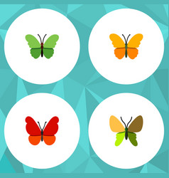 Flat moth set of beauty fly butterfly milkweed vector