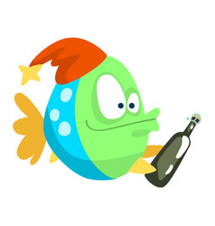 Funny fish in party hat with bottle little sea vector