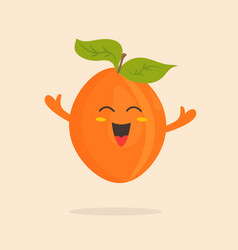 Funny happy apricot character design vector