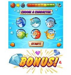 Game template with fish and shark characters vector