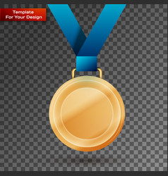 gold medal with blue ribbon vector image