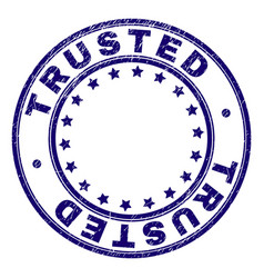 Grunge textured trusted round stamp seal vector