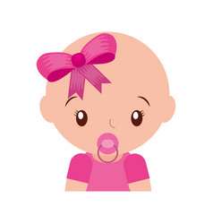 happy baby girl with pacifier adorable vector image
