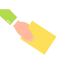 human hand and yellow paper vector image