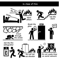 in case of fire emergency plan stick figure vector image