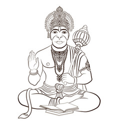 Indian god hanuman with the monkey face vector