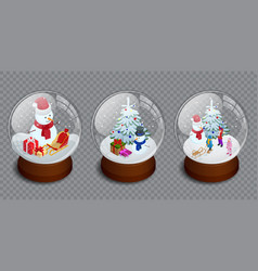 isometric set merry christmas glass ball vector image