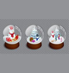 isometric set of merry christmas glass ball vector image