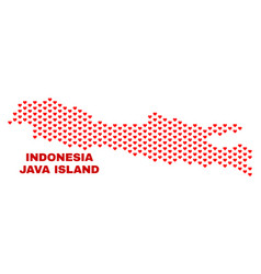 Java island map - mosaic of valentine hearts vector