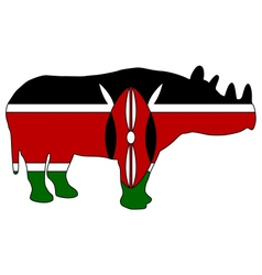 Kenya black rhino vector
