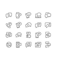Line messages icons vector