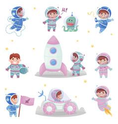 Little astronaut wearing spacesuit exploring the vector