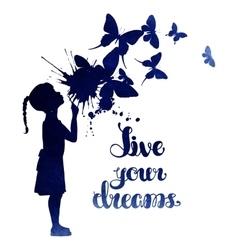 Little girl blowing out butterflies vector image