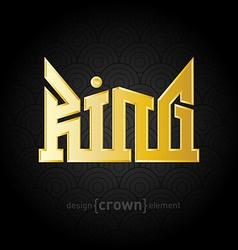Luxury golden King Crown design element on vector