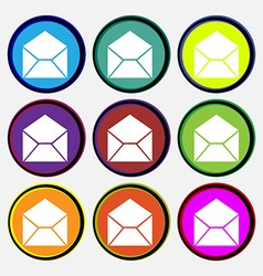Mail envelope icon sign Nine multi colored round vector