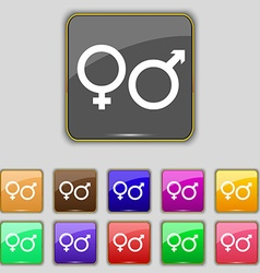 male and female icon sign Set with eleven colored vector image
