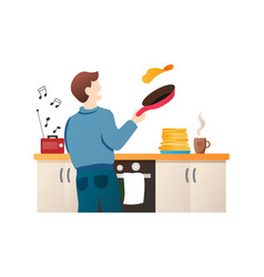 Man baking pancakes cartoon character guy vector