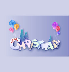 merry christmas cut from paper vector image