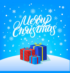 merry christmas hand written lettering vector image