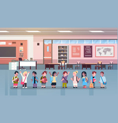 mix race school children group lesson in classroom vector image