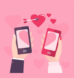 Mobile valentine day vector