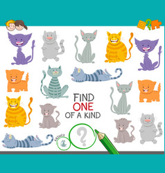One a kind game with cartoon cats and kittens vector