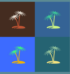 palm tree island icon colour set vector image