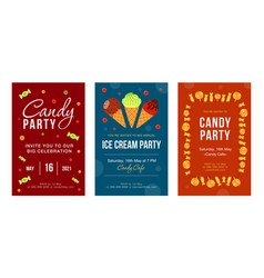 Party invitation cards with candies and ice cream vector