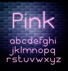 Pink glowing neon alphabet vector
