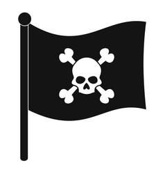 Pirate flag icon simple style vector
