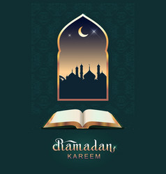Ramadan kareem open book koran and moon vector