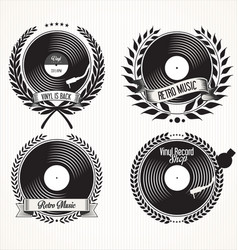 retro vinyl records badge and laurel wreath vector image