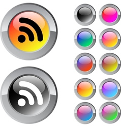 Rss multicolor round button vector image