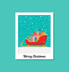 santa sleigh full present boxes image on vector image