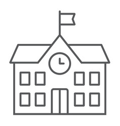 School building thin line icon school education vector