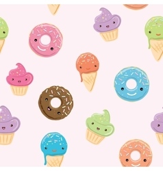 Seamless pattern with sweets in kawaii style vector