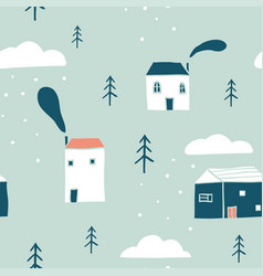 seamless winter landscape pattern vector image