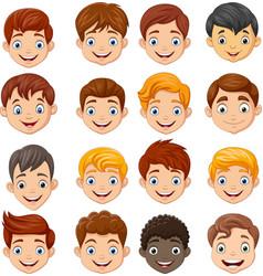 set cartoon children head vector image