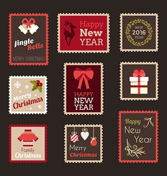 set christmas and new year postage stamps vector image