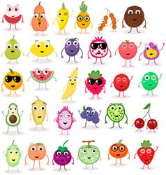 Set cute cartoon fruits exotic tropical vector