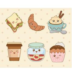 set of bakery food kawaii characters vector image