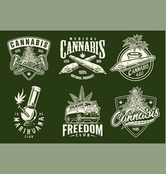 set of monochrome cannabis emblems vector image