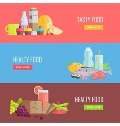 Set tasty and healthy food web banners vector
