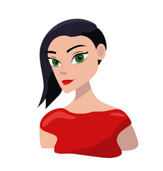 sexy cartoon girl portrait with red lips vector image