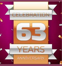 Sixty three years anniversary celebration design vector