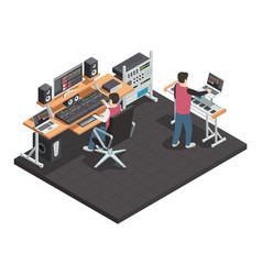 Sound engineer isometric workplace vector