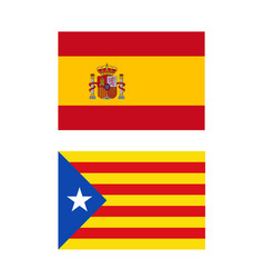 Spain and catalonia flags vector