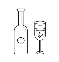 Sparkle wine bottle line icon vector