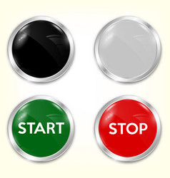 stop start buttons in red and green with silver vector image