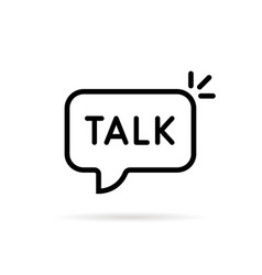 talk word in black thin line bubble vector image